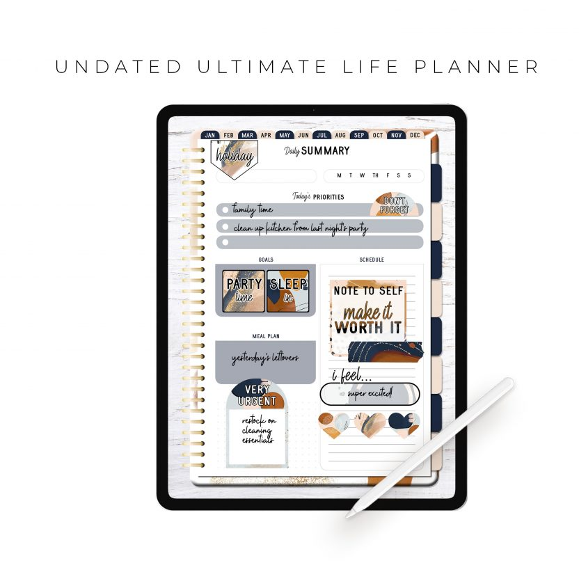 Undated Ultimate Life Planner in Gold Rustic – Portrait