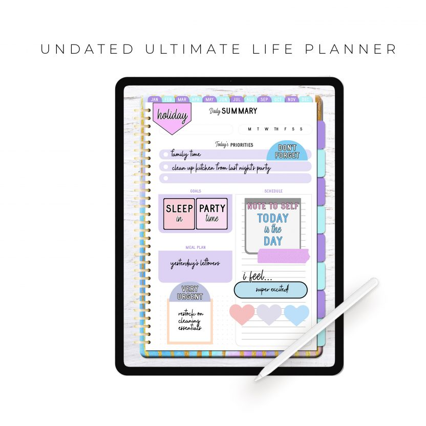 Undated Ultimate Life Planner in Rainbow Stripes – Portrait