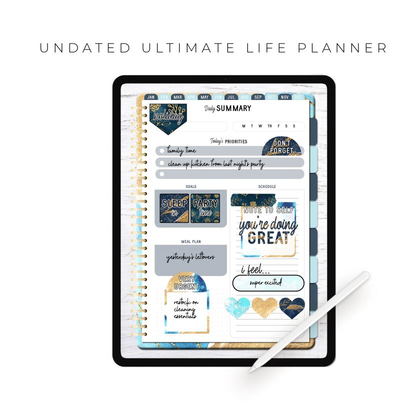 Undated Ultimate Life Planner in Blue Gold – Portrait