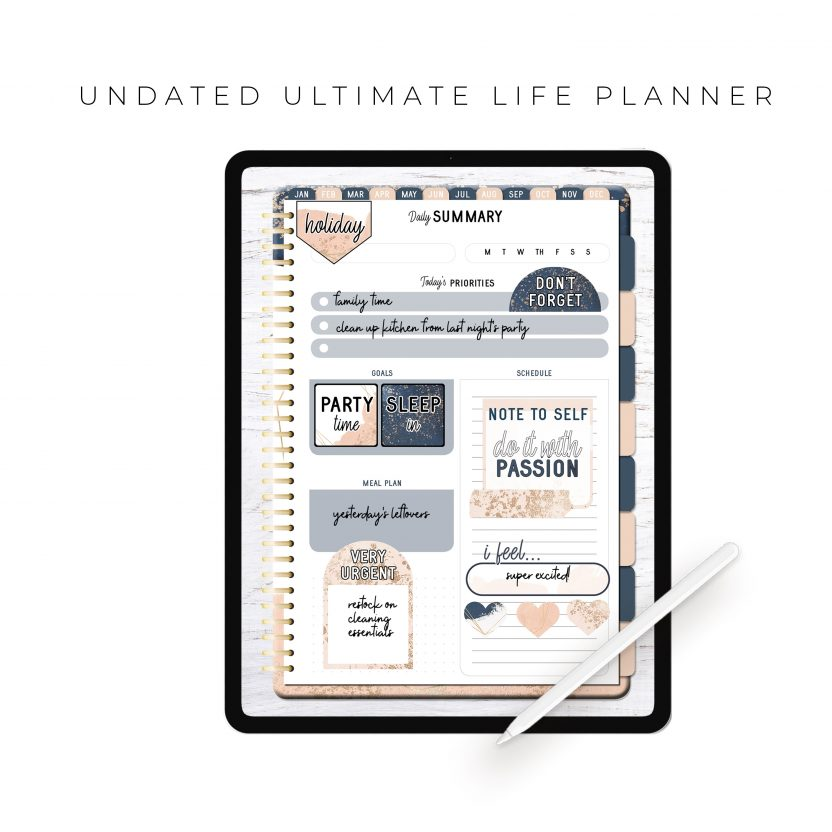 Undated Ultimate Life Planner in Blush Gold – Portrait
