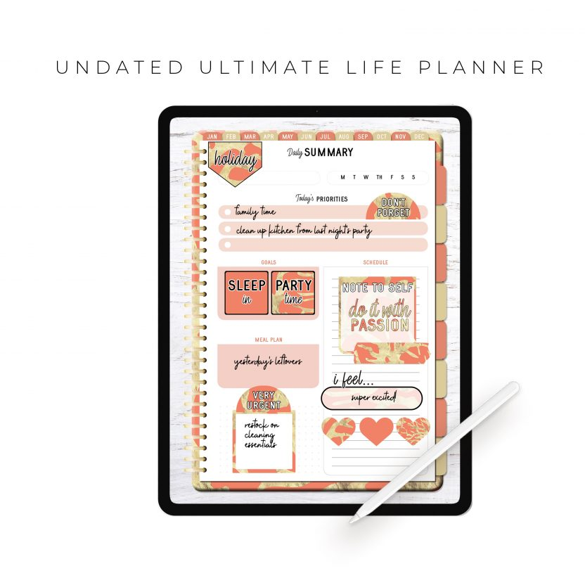 Undated Ultimate Life Planner in Coral Gold – Portrait