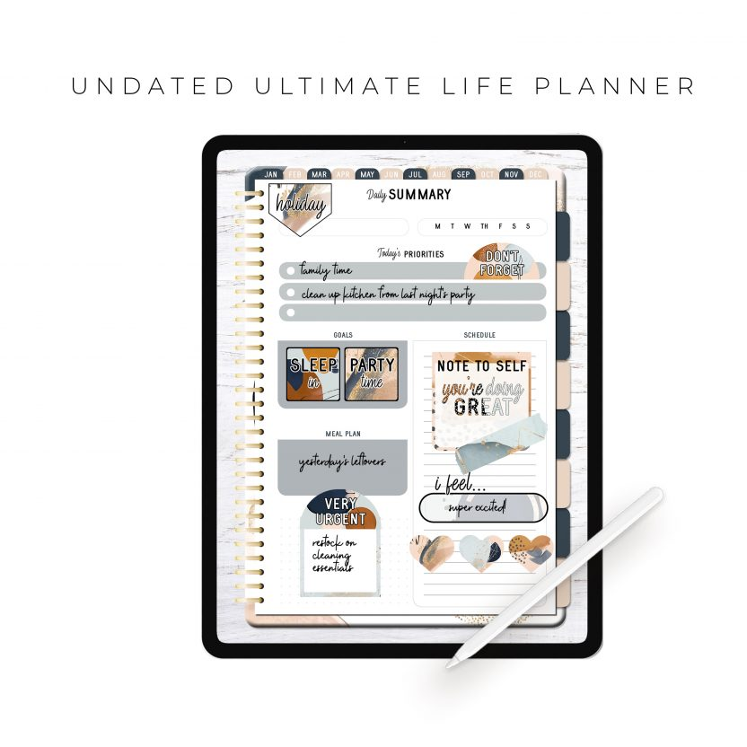 Undated Ultimate Life Planner in Gold Abstract – Portrait